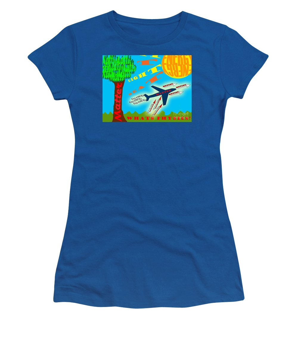 Science Women's T-Shirt featuring the digital art Science Classroom Poster On Physics by Lj Lambert