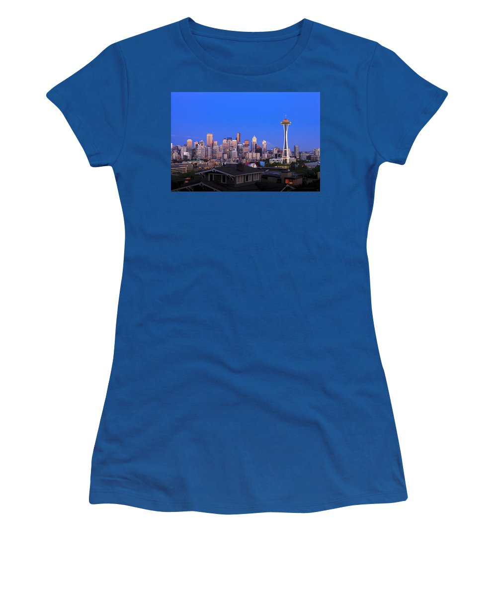 Seattle Skyline 7-7-12 Women's T-Shirt featuring the photograph Seattle Skyline 3 by Mike Penney
