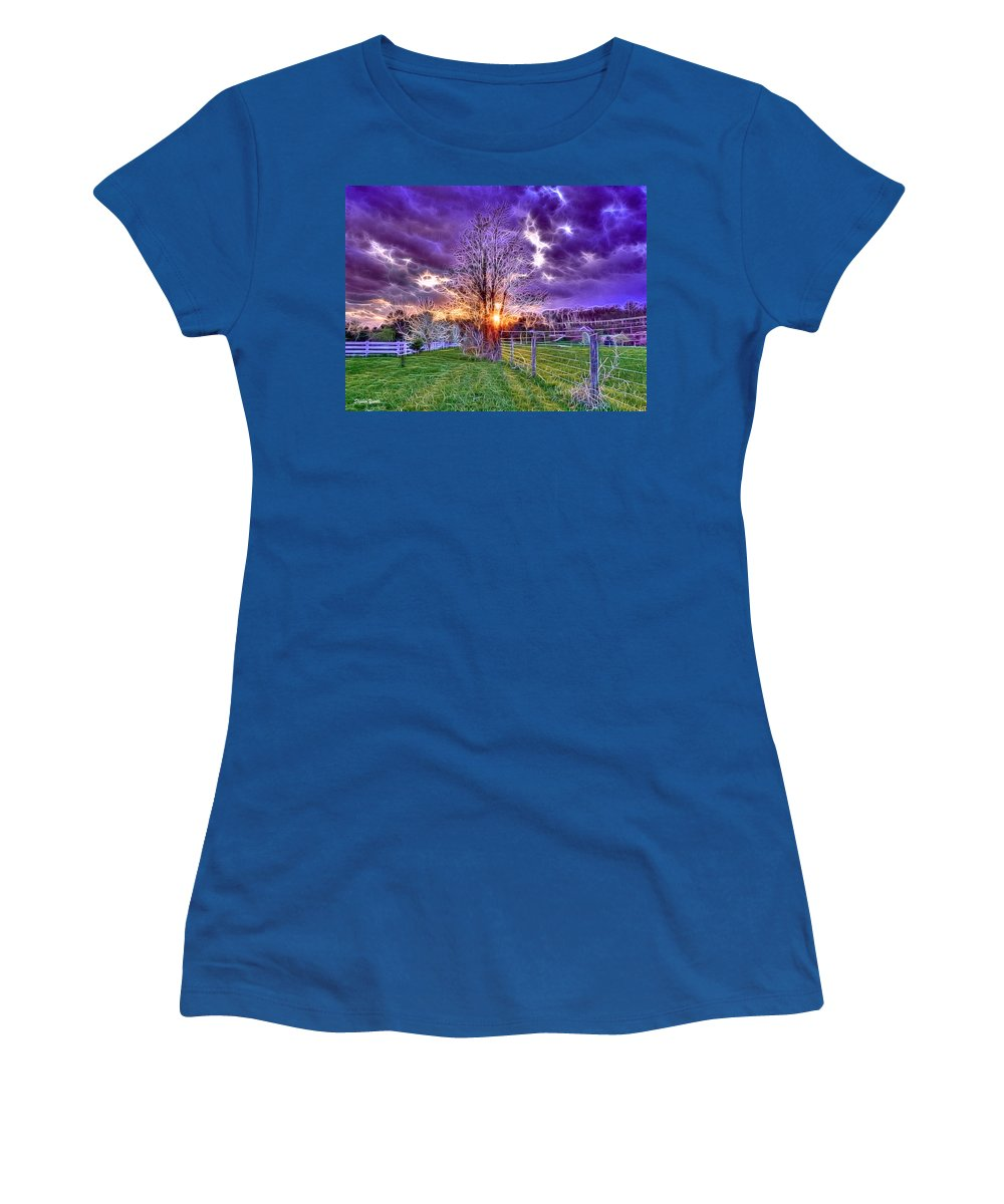 Sunset Women's T-Shirt featuring the photograph Setting Sun by Stephen Younts