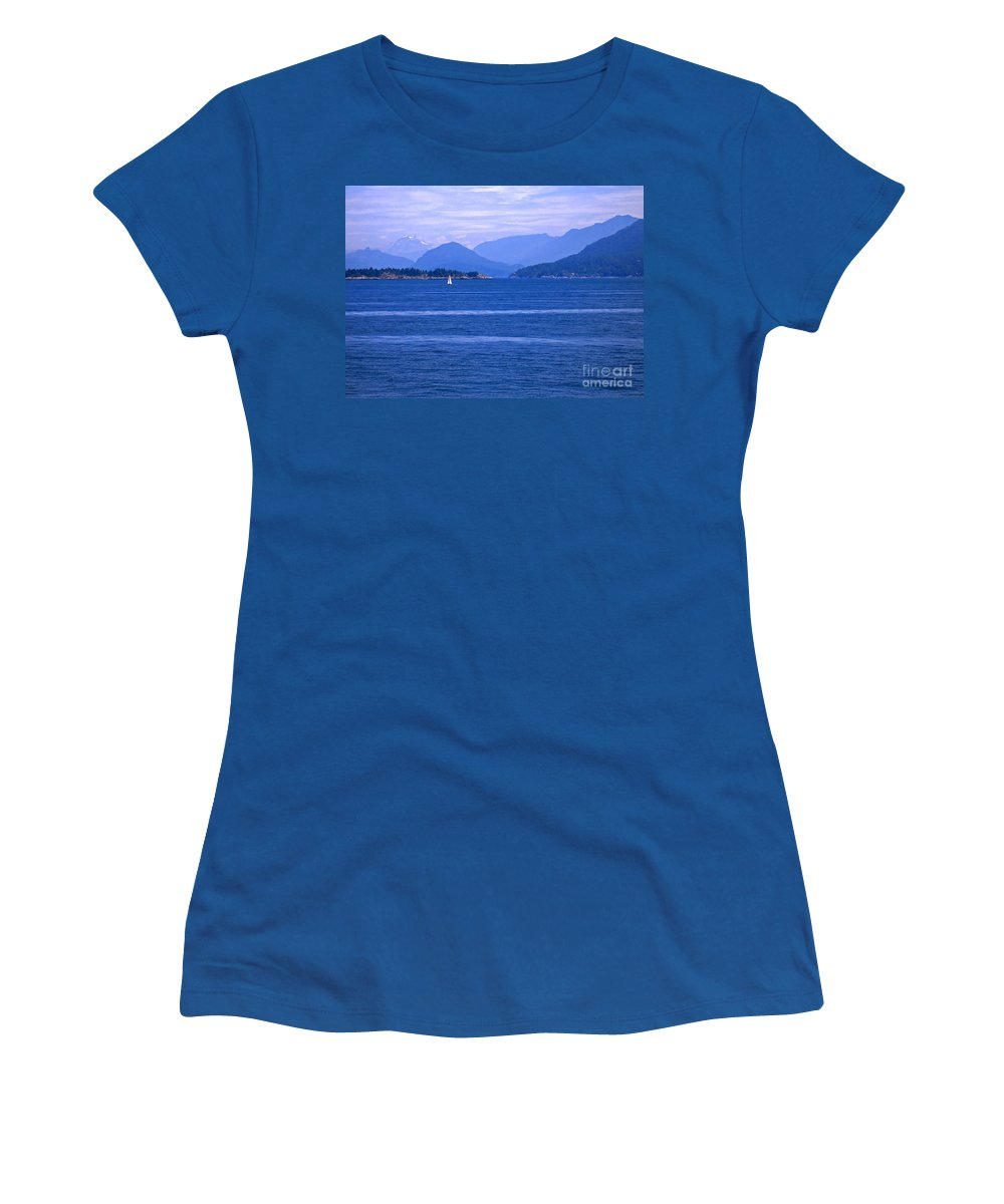 Sailboat Women's T-Shirt (Athletic Fit) featuring the photograph Solitary Sailing by Ann Horn