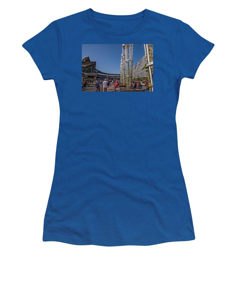 Minnesota Twins Minneapolis Target Field Baseball Crowd Fans Sky Blue Women's T-Shirt featuring the photograph Target Plaza by Tom Gort