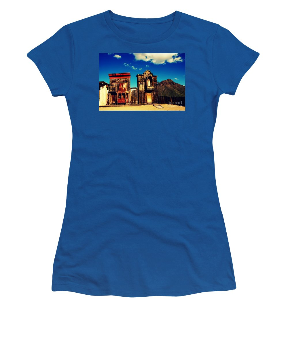 Sombrero Bank Women's T-Shirt featuring the photograph The Sombrero Bank In Old Tuscon Arizona by Susanne Van Hulst