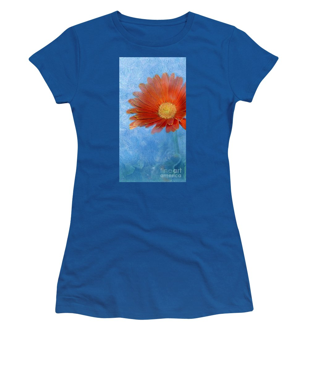 Triptych Women's T-Shirt (Athletic Fit) featuring the photograph Triptych Gerbera Daisy-one by Betty LaRue