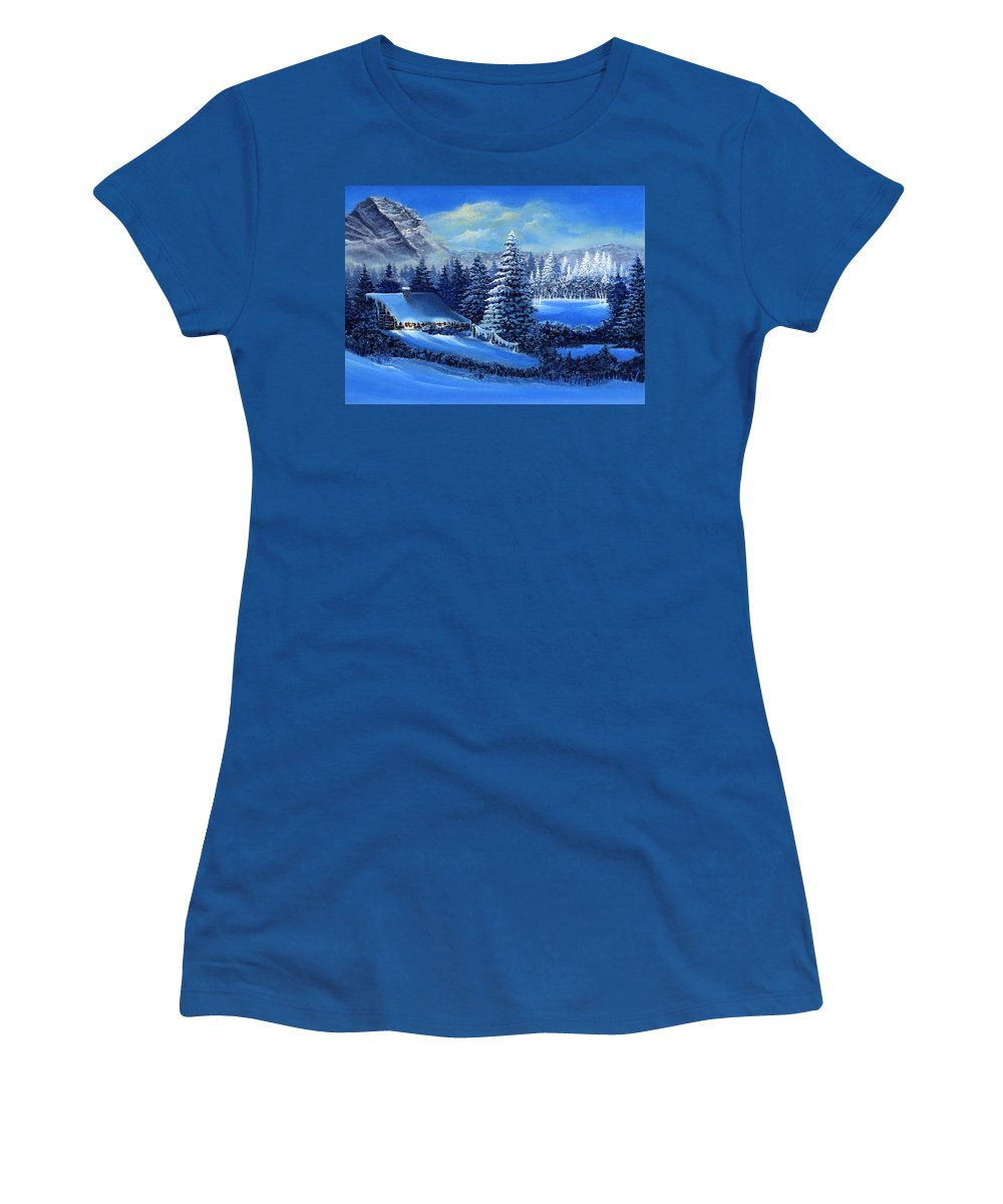 Cabin Women's T-Shirt featuring the painting Winter Cabin by Bonnie Cook