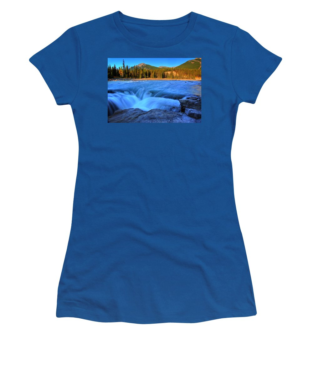 Athabasca River Women's T-Shirt featuring the digital art Athabasca Falls In Jasper National Park by Mark Duffy