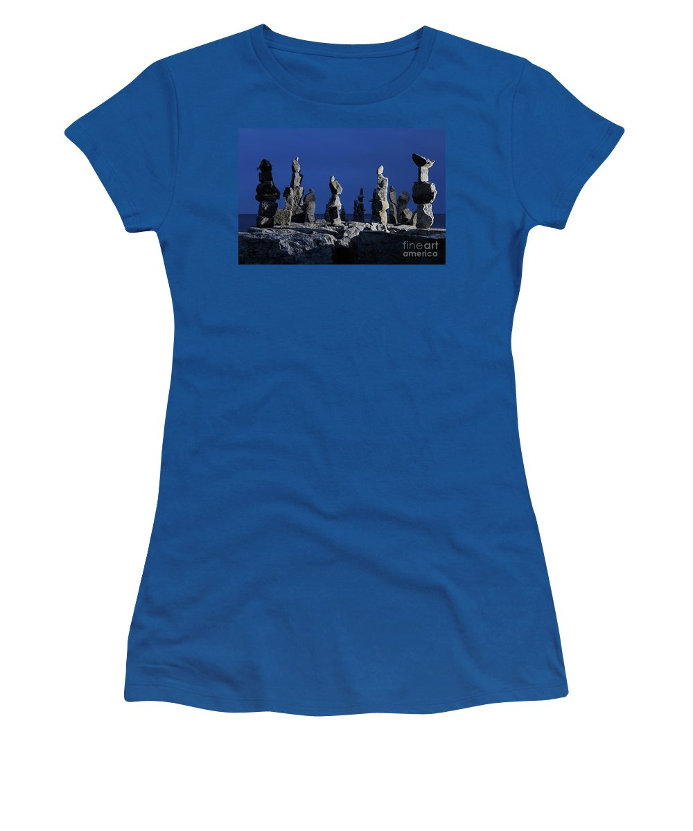Inukshuk Women's T-Shirt featuring the photograph Human Figures Made From Stones At Night by Oleksiy Maksymenko