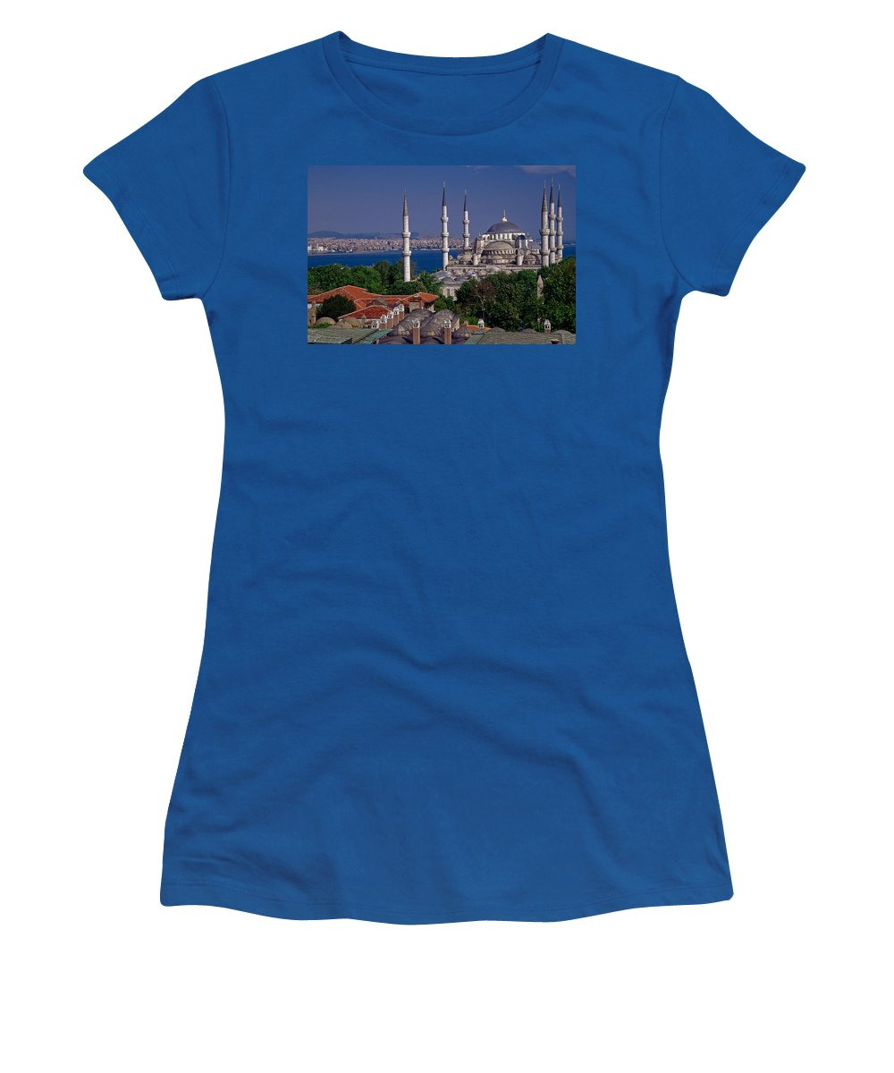 Turkey Women's T-Shirt featuring the photograph Istanbul's Blue Mosque by Michele Burgess