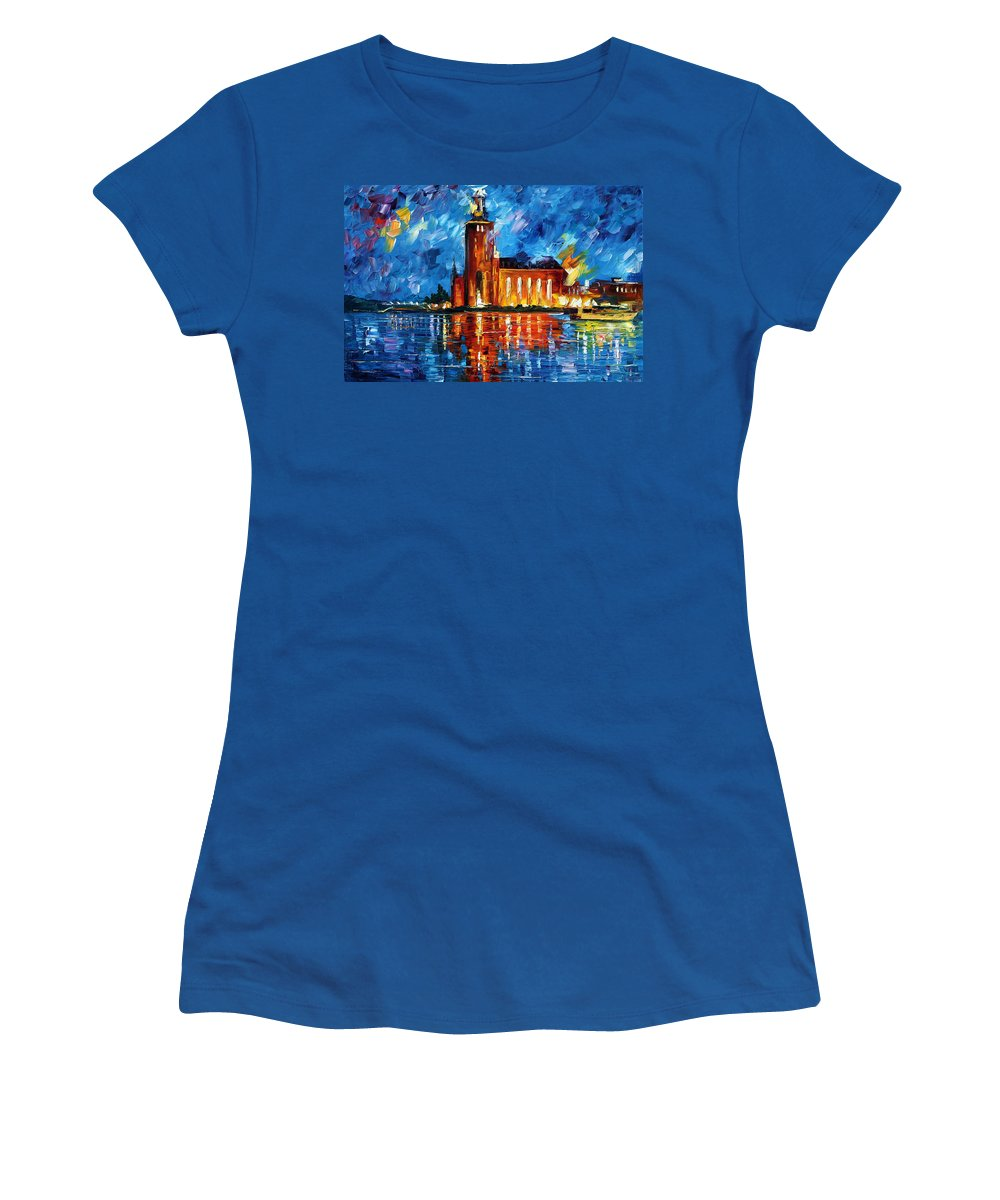 Boat Women's T-Shirt featuring the painting Lighthouse by Leonid Afremov