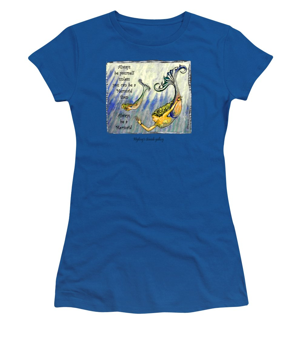 Mermaid Women's T-Shirt featuring the painting Mermaid by W Gilroy