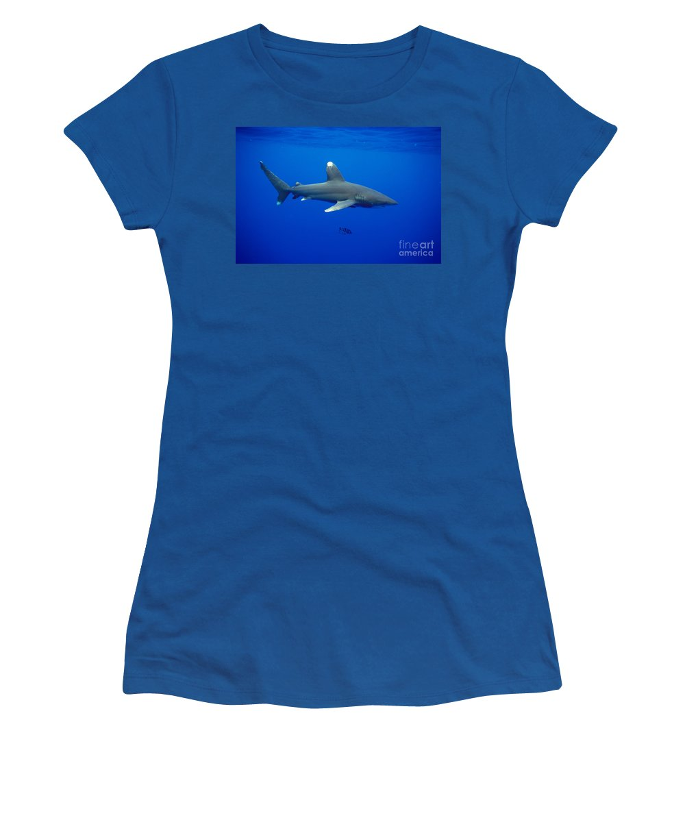 Animal Art Women's T-Shirt featuring the photograph Oceanic Whitetip Shark by Dave Fleetham - Printscapes