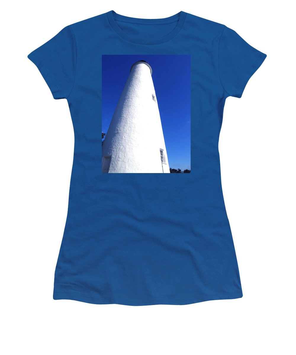 Ocracoke Women's T-Shirt featuring the photograph Ocracoke Island Light House by Wayne Potrafka