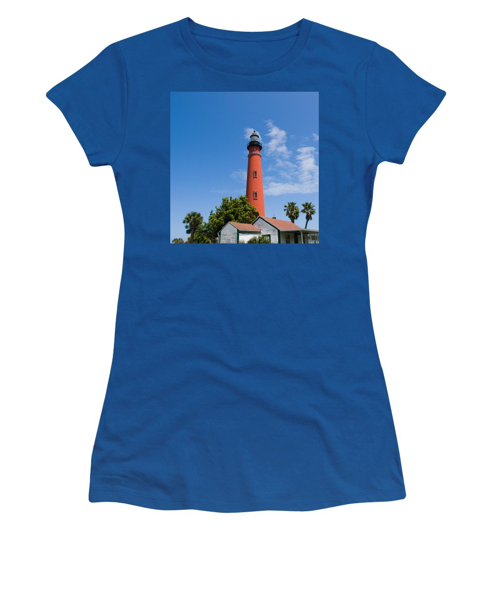 Ponce; De; Leon; Lighthouse; Light; House; Beacon; Navigation; Aid; Lens; Fresnel; Mosquito; Florida Women's T-Shirt (Athletic Fit) featuring the photograph Ponce De Leon Inlet Lighthouse by Allan Hughes