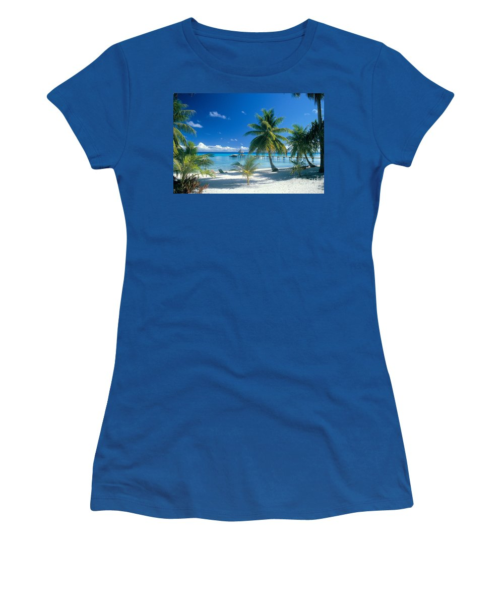 Blue Women's T-Shirt (Athletic Fit) featuring the photograph Rangiroa Atoll, Kia Ora by Peter Stone - Printscapes