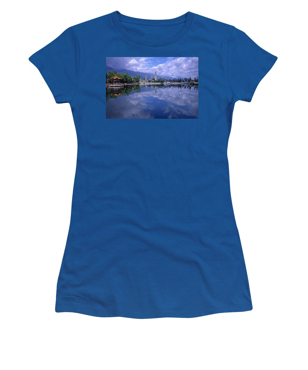 Pagoda Women's T-Shirt featuring the photograph The Three Pagodas Of Dali by Michele Burgess