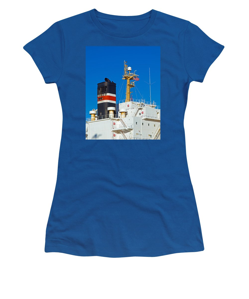 Cape; Canaveral; Port; Florida; Atlantic; Ship; Boat; Freight; Freighter; Bulk; Coal; Unloading; Loa Women's T-Shirt (Athletic Fit) featuring the photograph Tramp Steamer Unloading Coal At Port Canaveral In Florida by Allan Hughes