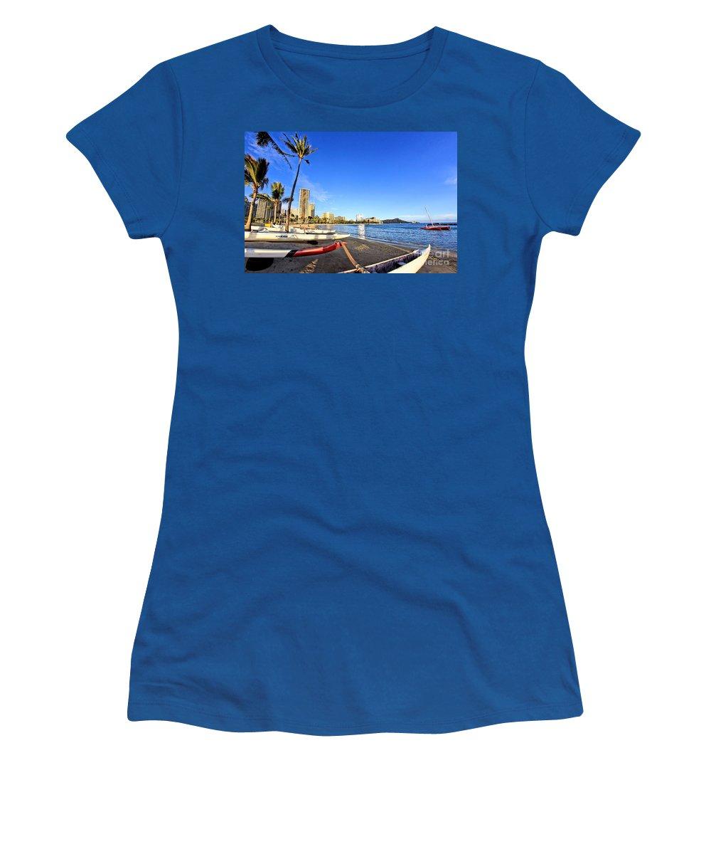 Paradise Women's T-Shirt featuring the photograph Waikiki Hawaii by DJ Florek