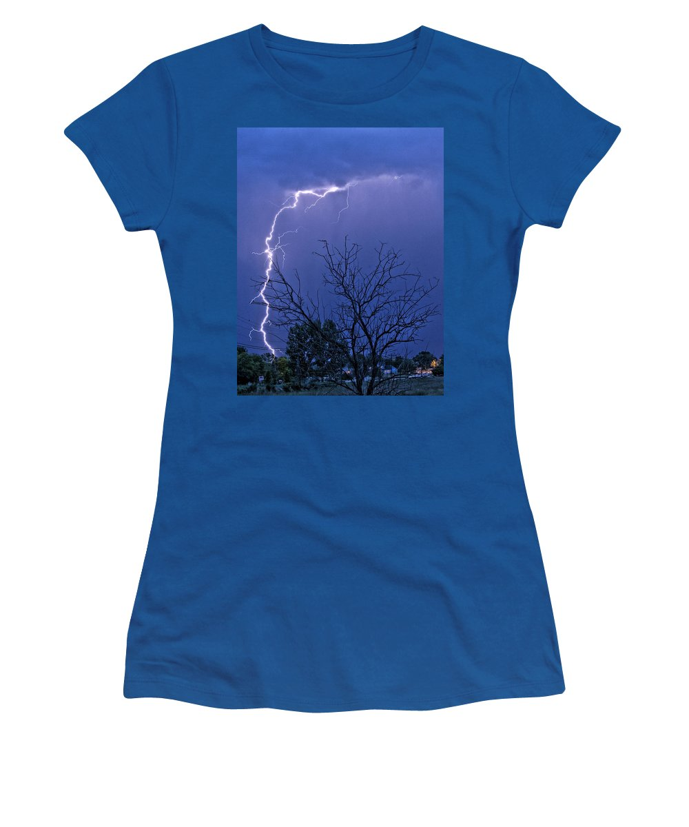 Lightning Women's T-Shirt (Athletic Fit) featuring the photograph 17 Street To Hygiene Lightning Strike. by James BO Insogna
