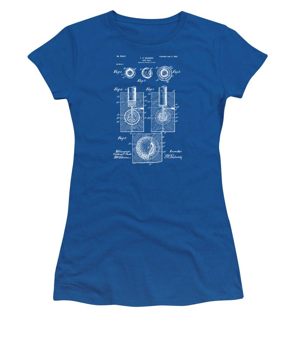 Golf Women's T-Shirt featuring the digital art 1902 Golf Ball Patent Artwork - Blueprint by Nikki Marie Smith