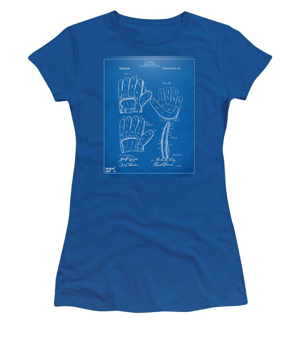 Baseball Women's T-Shirt featuring the digital art 1910 Baseball Glove Patent Artwork Blueprint by Nikki Marie Smith