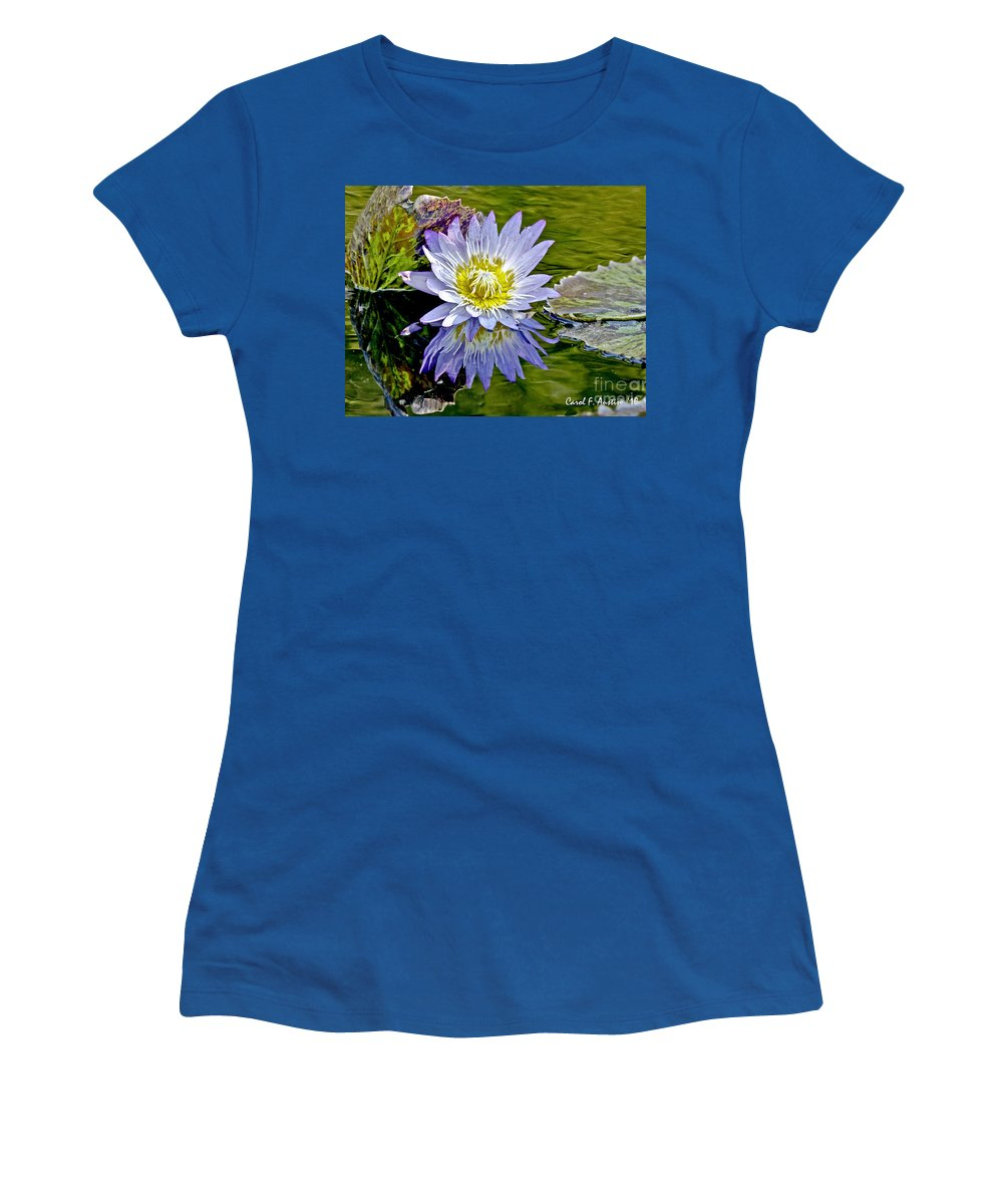 Impressionistic Women's T-Shirt featuring the photograph Purple Water Lily Pond Flower Wall Decor by Carol F Austin