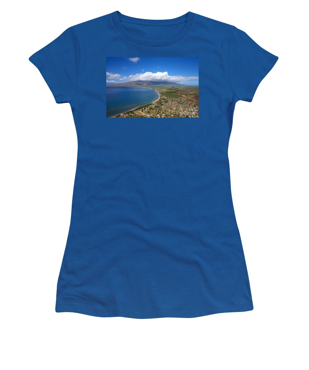 Above Women's T-Shirt featuring the photograph Maui Aerial by Ron Dahlquist - Printscapes