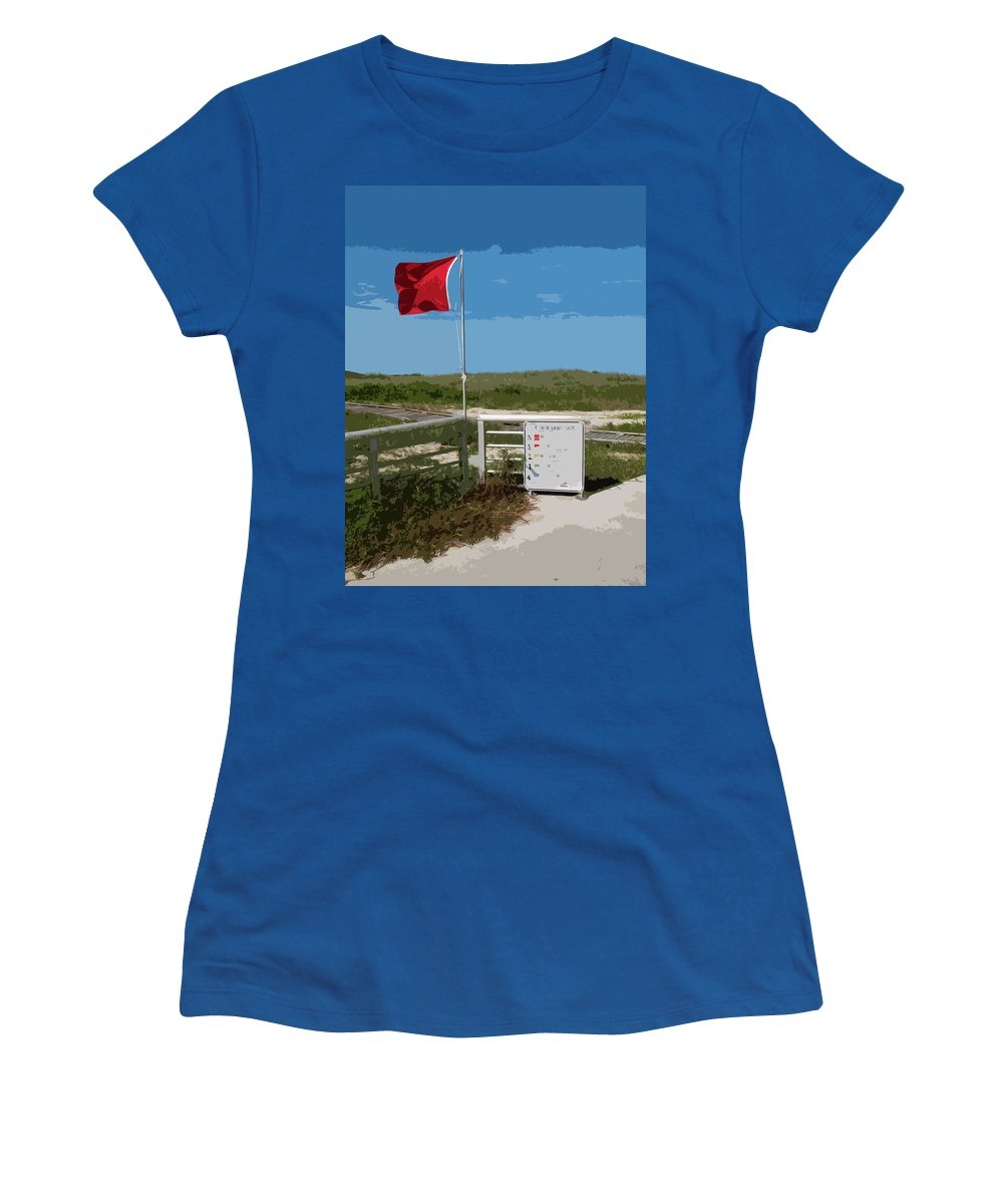 Storm Women's T-Shirt featuring the painting Storm Warning On The Atlantic Ocean In Florida by Allan Hughes