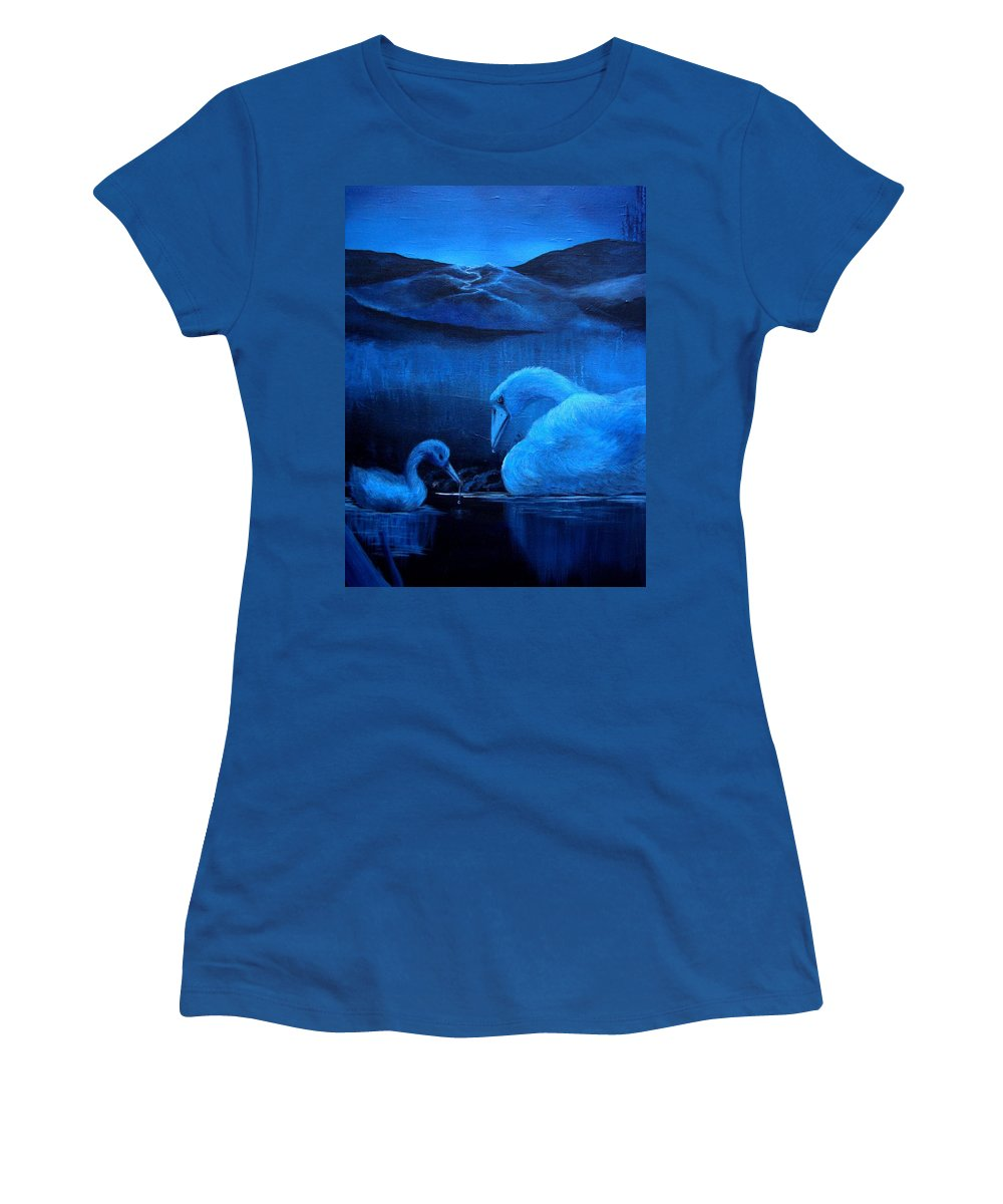 Women's T-Shirt featuring the painting A Beautiful Night by Glory Fraulein Wolfe