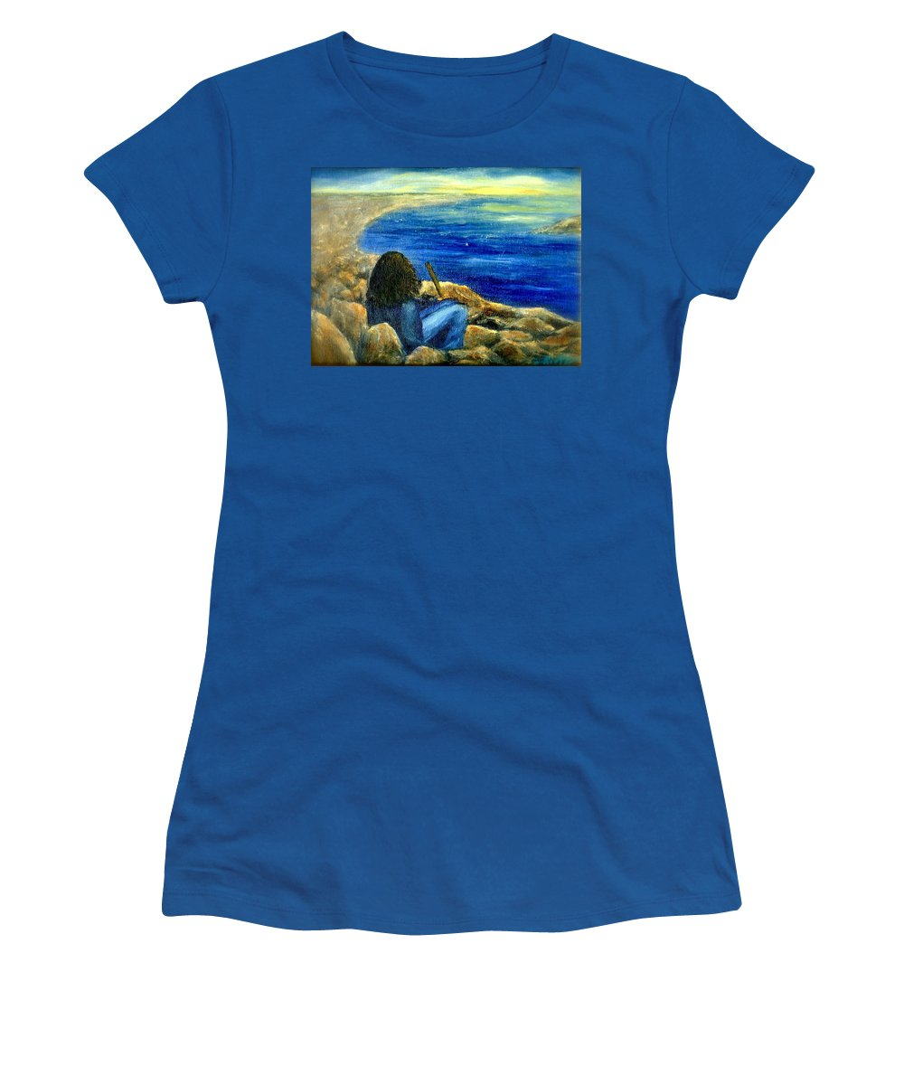 Figure Women's T-Shirt featuring the painting A Blue Day by Gail Kirtz