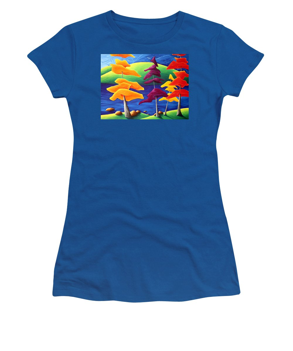 Landscape Women's T-Shirt (Athletic Fit) featuring the painting A Crowd Gathers by Richard Hoedl