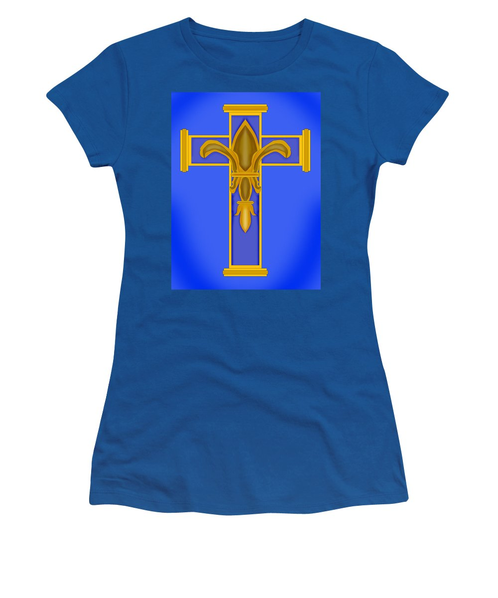 Fleur De Lis Women's T-Shirt featuring the painting A Touch Of Royalty by Anne Norskog