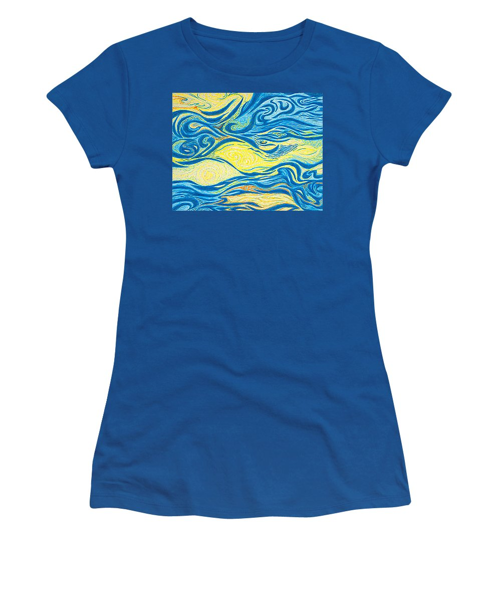 Art Women's T-Shirt (Athletic Fit) featuring the drawing Abstract Art Good Morning Contemporary Modern Artwork Giclee Fine Art Prints Life Cycle Swirls Water by Baslee Troutman