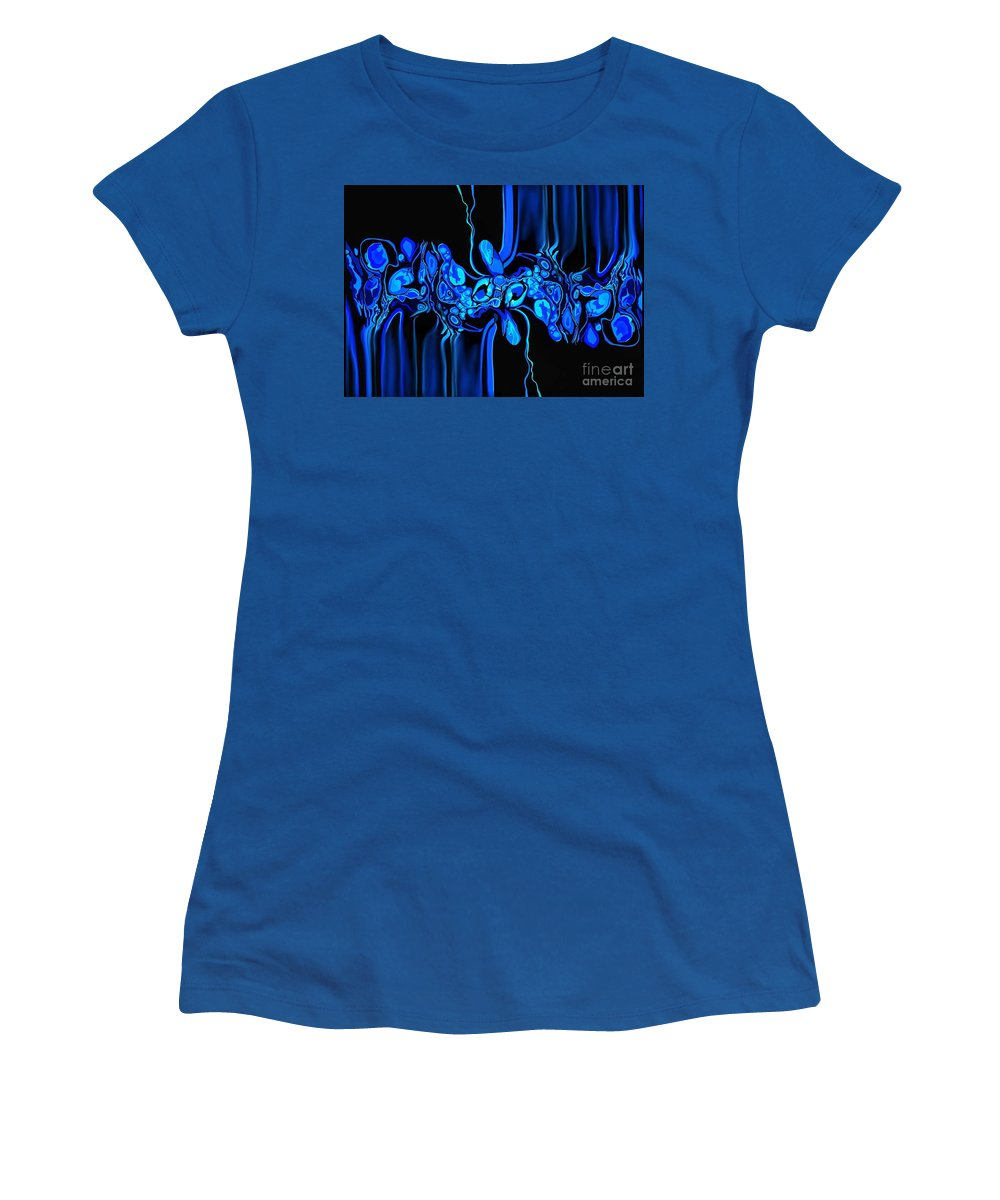 Abstract Women's T-Shirt featuring the digital art Abstract In Blue 3 by Diana Rajala