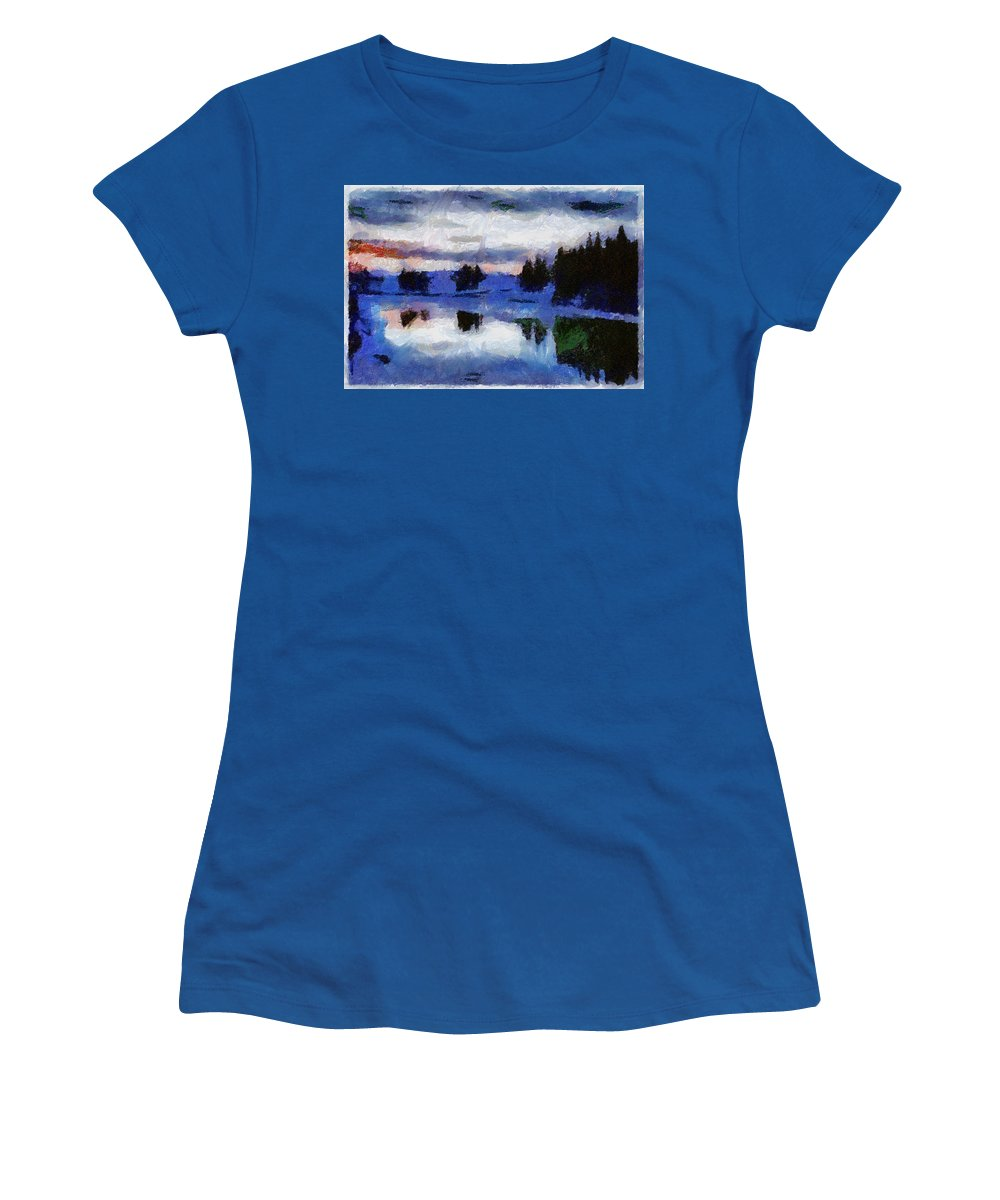 Abstract River Snow Sky Trees Reflects Wather Clouds Red Sunset Green Fairbanks Alaska Women's T-Shirt (Athletic Fit) featuring the photograph Abstract Invernal River by Galeria Trompiz
