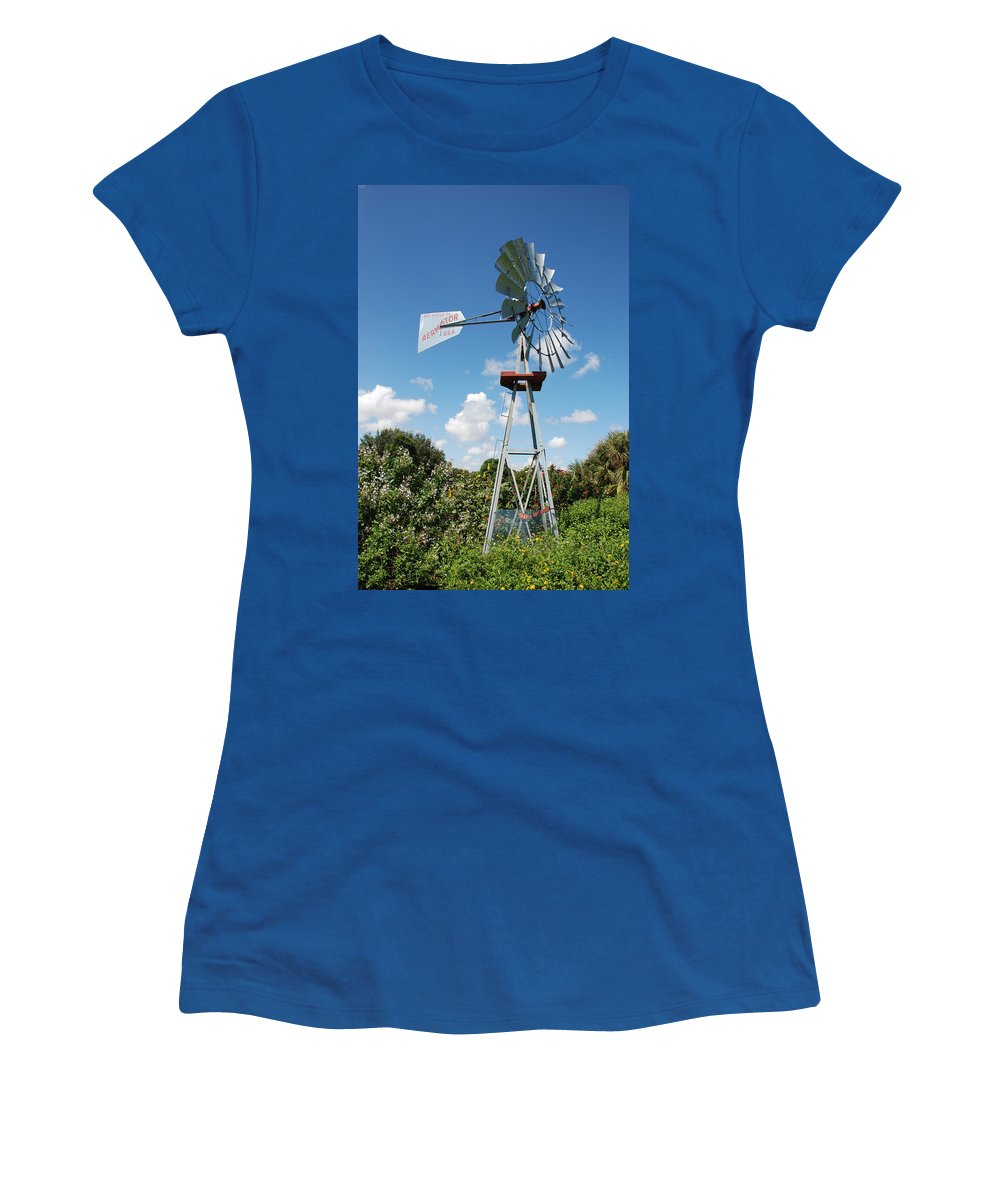 Blue Women's T-Shirt featuring the photograph Aeromotor Windmill by Rob Hans
