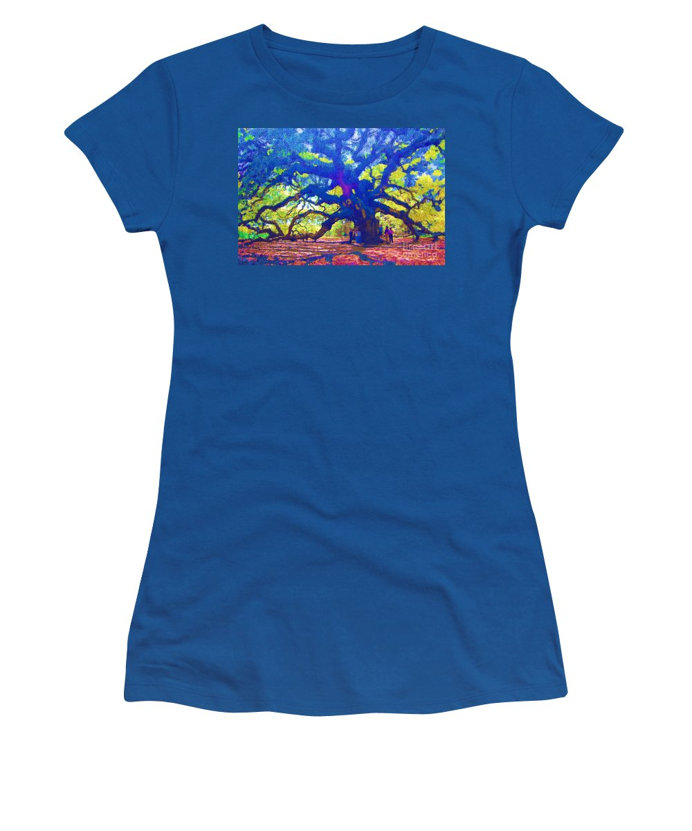 Tree Women's T-Shirt (Athletic Fit) featuring the photograph Angel Oak Tree by Donna Bentley