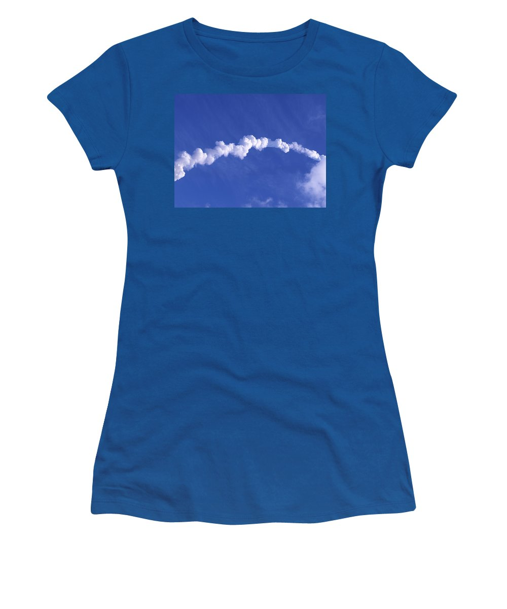 Rocket Women's T-Shirt featuring the photograph Area1x Rocket Exhaust Trail by Allan Hughes