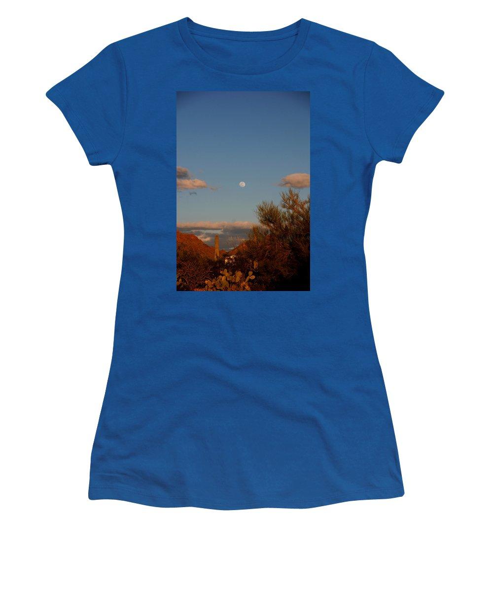 Arizona Women's T-Shirt featuring the photograph Arizona Moon II by Susanne Van Hulst
