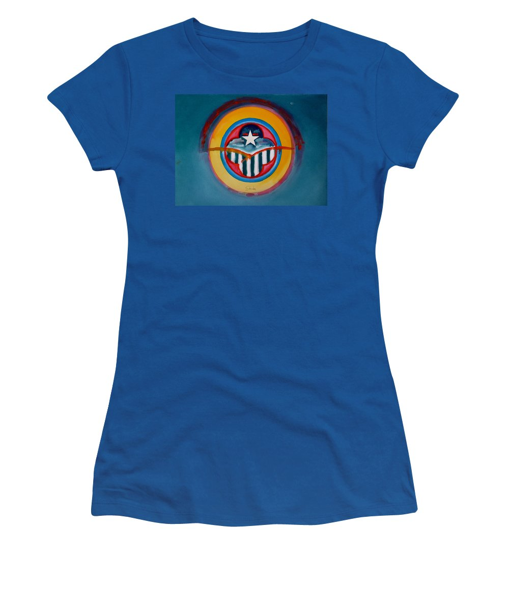 Button Women's T-Shirt (Athletic Fit) featuring the painting Army by Charles Stuart