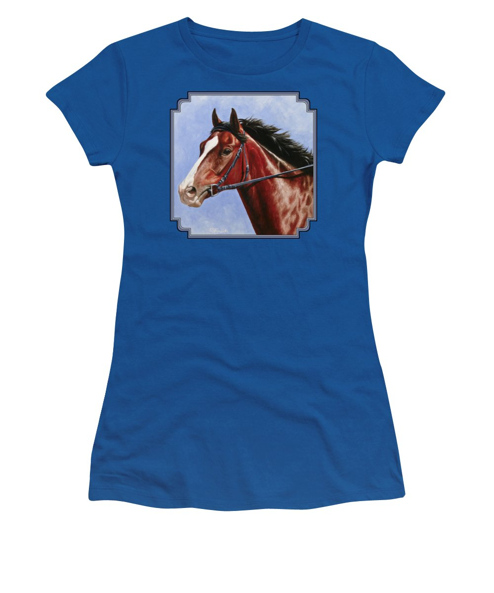 Horse Women's T-Shirt (Junior Cut) featuring the painting Horse Painting - Determination by Crista Forest