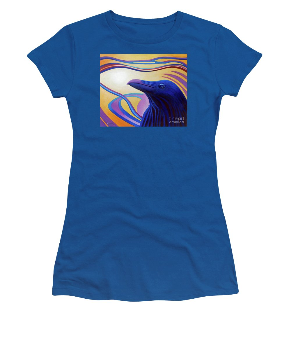 Raven Women's T-Shirt (Athletic Fit) featuring the painting Astral Raven by Brian Commerford