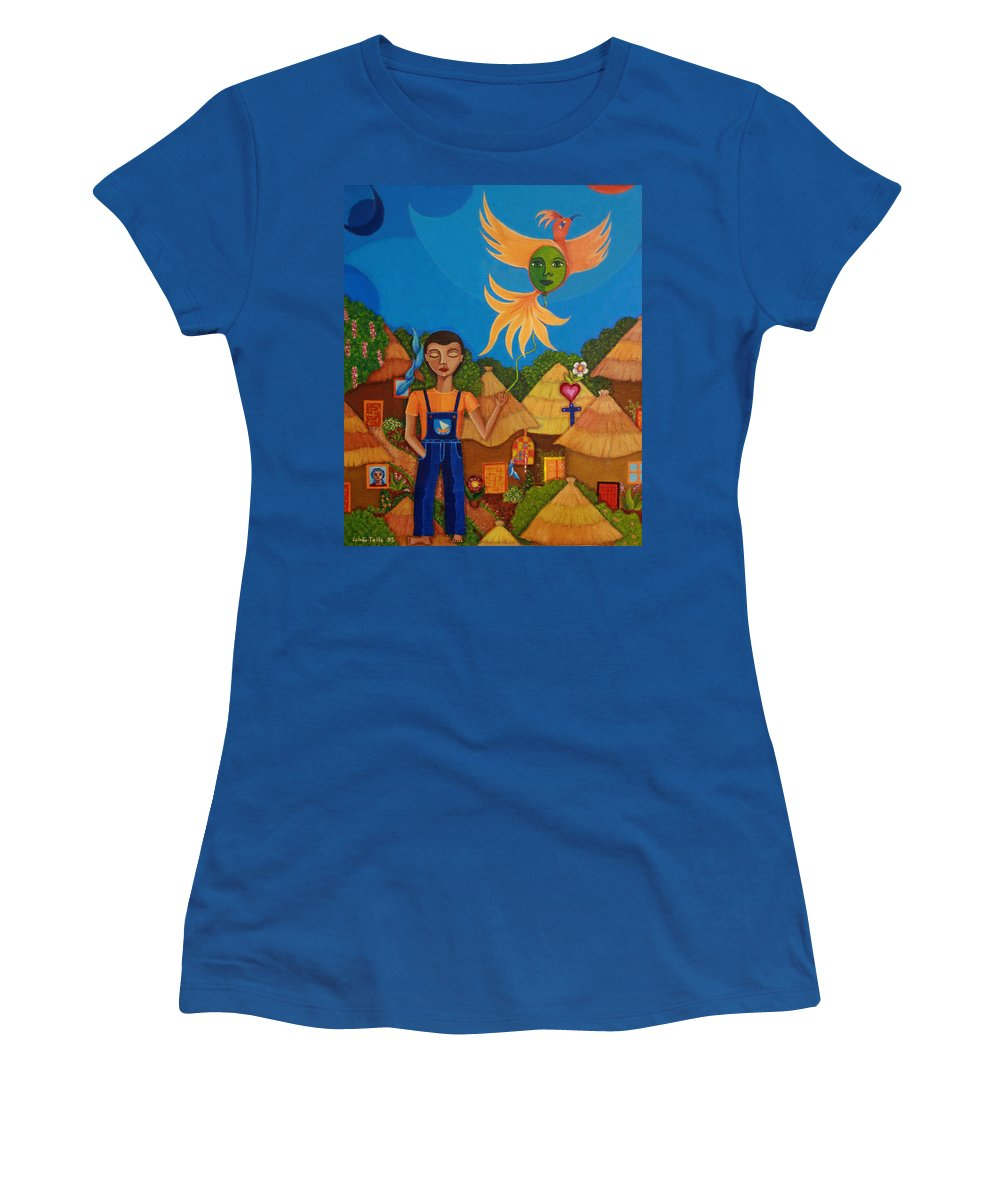 Autism Women's T-Shirt (Athletic Fit) featuring the painting Autism - A Flight To... by Madalena Lobao-Tello