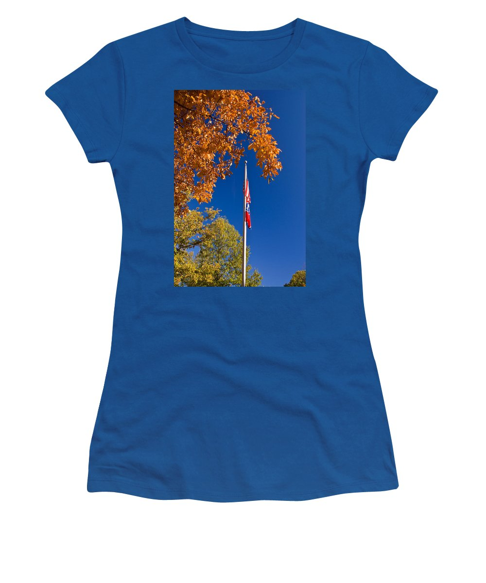 Flag Women's T-Shirt (Athletic Fit) featuring the photograph Autumn Flag by Douglas Barnett