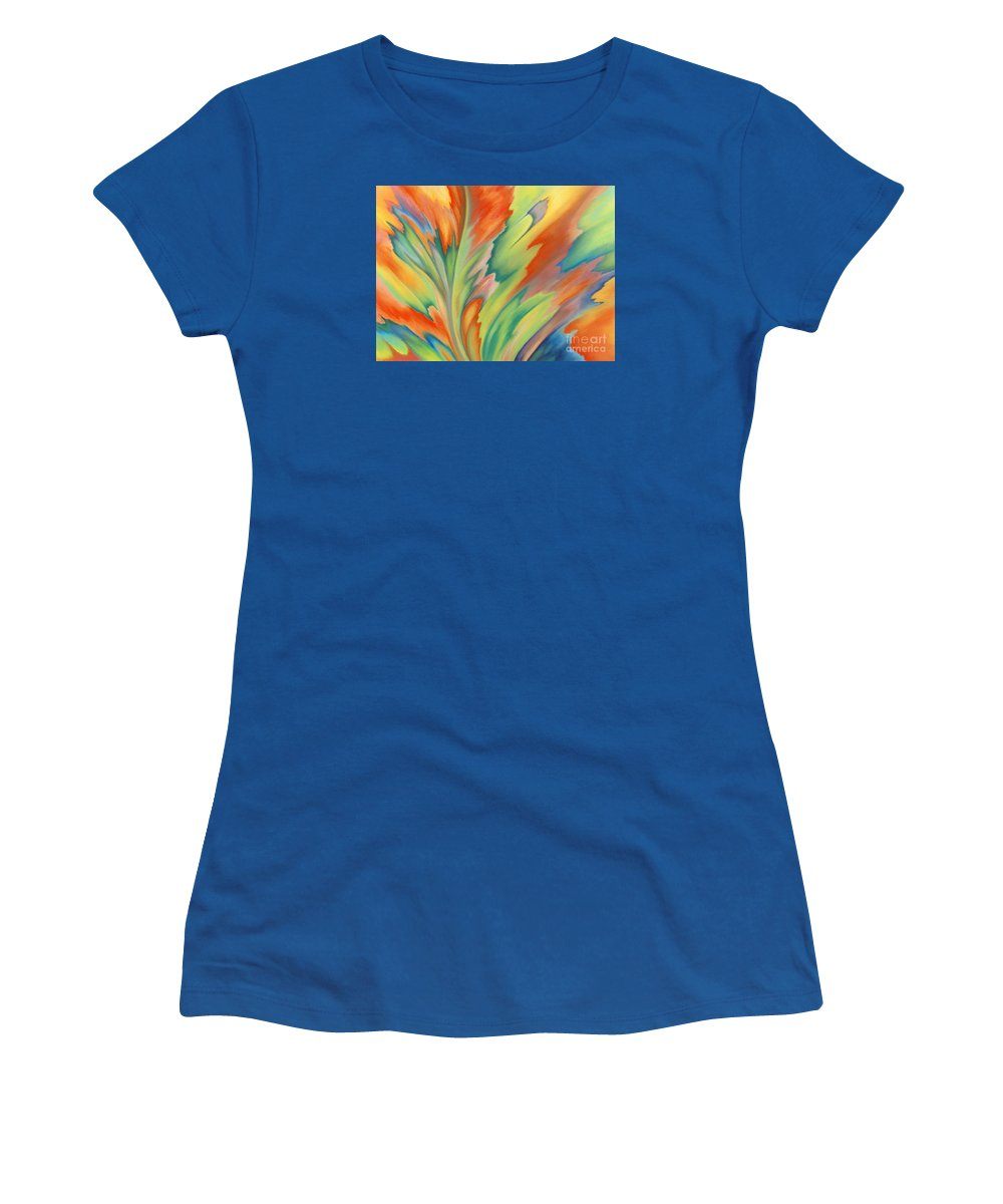 Abstract Women's T-Shirt (Junior Cut) featuring the painting Autumn Flame by Lucy Arnold