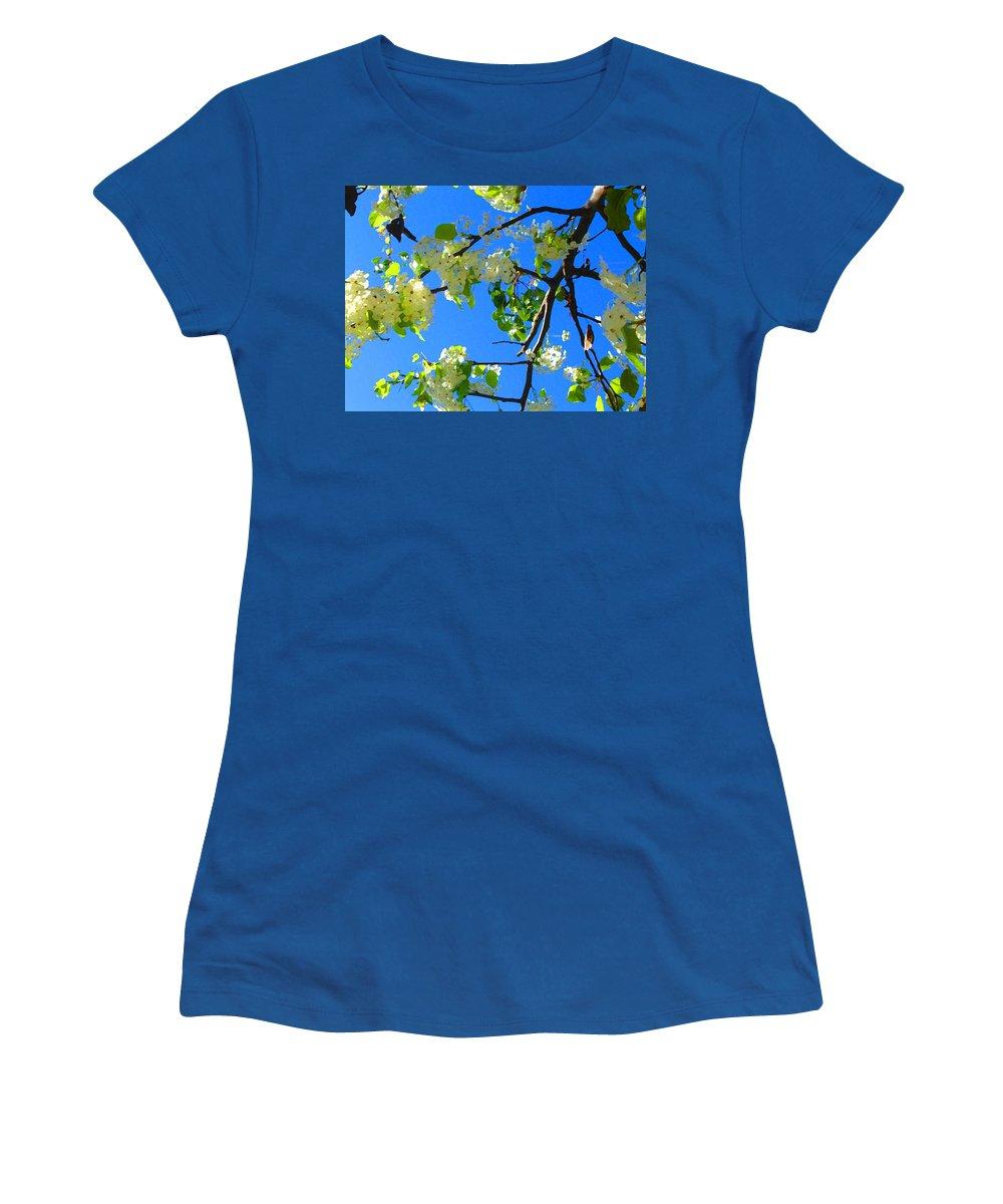 Tree Blossoms Women's T-Shirt (Athletic Fit) featuring the painting Backlit White Tree Blossoms by Amy Vangsgard