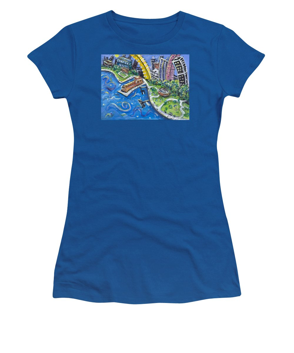 Battery Park New York City Manhattan Wall Street Hudson River Buildings Water Boat South Women's T-Shirt (Athletic Fit) featuring the painting Battery Park by Jason Gluskin