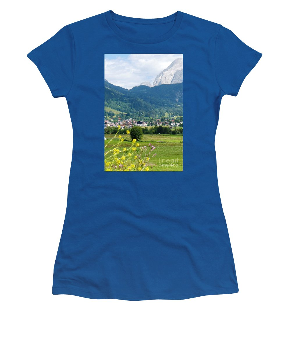 Bavaria Women's T-Shirt featuring the photograph Bavarian Alps With Village And Flowers by Carol Groenen