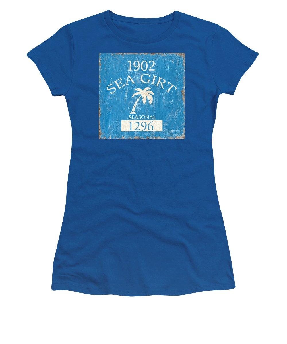 Beach Women's T-Shirt featuring the painting Beach Badge Sea Girt by Debbie DeWitt