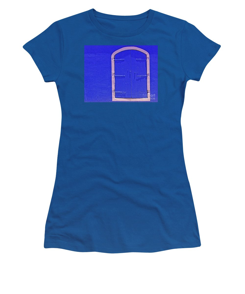 Door Women's T-Shirt (Athletic Fit) featuring the photograph Behind The Blue Door by Debbi Granruth