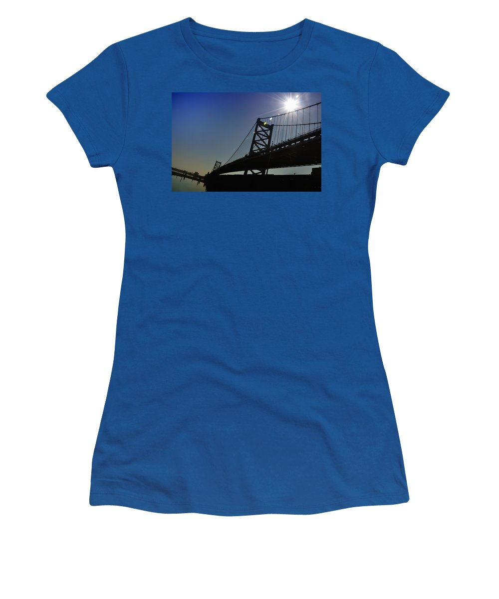 Philadelphia Women's T-Shirt (Athletic Fit) featuring the photograph Ben Franklin Bridge 2 by Bill Cannon