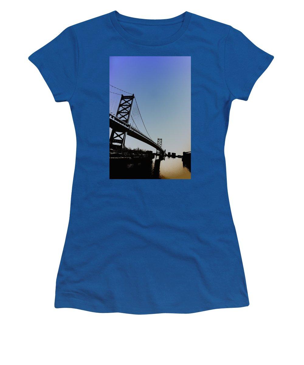 Philadelphia Women's T-Shirt (Athletic Fit) featuring the photograph Ben Franklin Bridge by Bill Cannon
